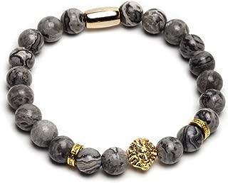 ZENGER 18kt Gold Plated Lion Head Beaded Bracelet