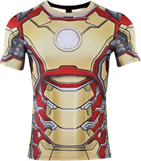 COOLMAX Mens Compression Shirt Iron Man 3D Printed T Shirts Fitness Tops Black
