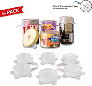 Silicone Stretch Lids, mason jar, soda can lid covers, 6 Pack of small size lids with Ebook by ExcelGadgets