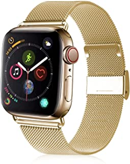 VATI Compatible with Apple Watch Band 38mm 40mm 42mm 44mm, Adjustable Breathable Stainless Steel Mesh Loop Magnet Wristband Replacement Strap Compatible for Apple Watch Series 5/4/3/2/1 All Models