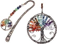 Jovivi Bundle - 2 Items 7 Chakra Tree of Life Antique Copper Metal Bookmark Beading Bookmarks + 7 Chakra Stones Reiki Healing Crystals Tree of Life Hanging Ornament