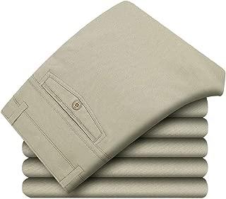 MogogoMen Khaki Premium Select Comfort Soft Stretchy Plain-Front Pant