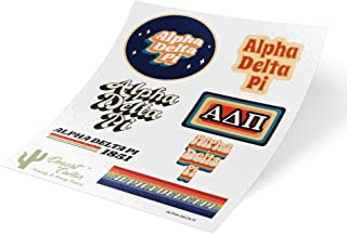 Alpha Delta Pi 70's Themed Sticker Sheet Decal Laptop Water Bottle Car ADPi (70's Sheet)