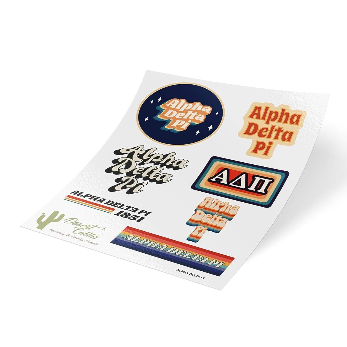 Alpha Delta Pi 70's Themed Sticker Sheet Decal Laptop Water Bottle Car ADPi (Full Sheet - 70's)