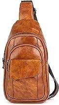 FANDARE Uniseks borstzak, leren slingbag, voor dames en heren, schoudertas, sporttas, voor outdoor, reizen, wandelen, wand...