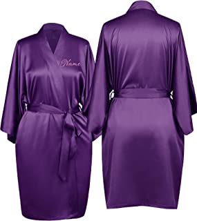 Personalized Mrs. Satin Bridal Robe with Embroidered Name Custom Monogrammed