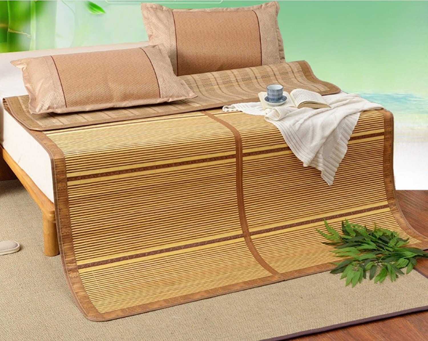 Summer Double-Sided Folding Bamboo Mat 0.9 Meters Student 1.8 Meters Mat 1.5 Meters Bamboo Mat ZXCV (Size   90  180CM)