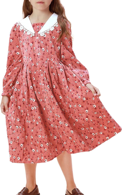 Girls Casual Floral Dresses Vintage Printed Swing Party Dress 6-12Y