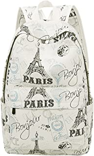 Eiffel Tower Prints Elementary School Rucksack Backpack for Teenage Girls Canvas Casual Daypack for Women