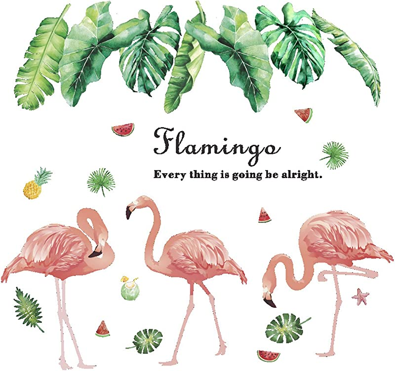 YINASI Flamingo Wall Art Stickers Pink Flamingos Green Plants Leaves Pastoral Style Wall Stickers Wall Decal Vinyl Removable Wall Decals For Bedroom Living Room Nursery Room Children S Bedroom