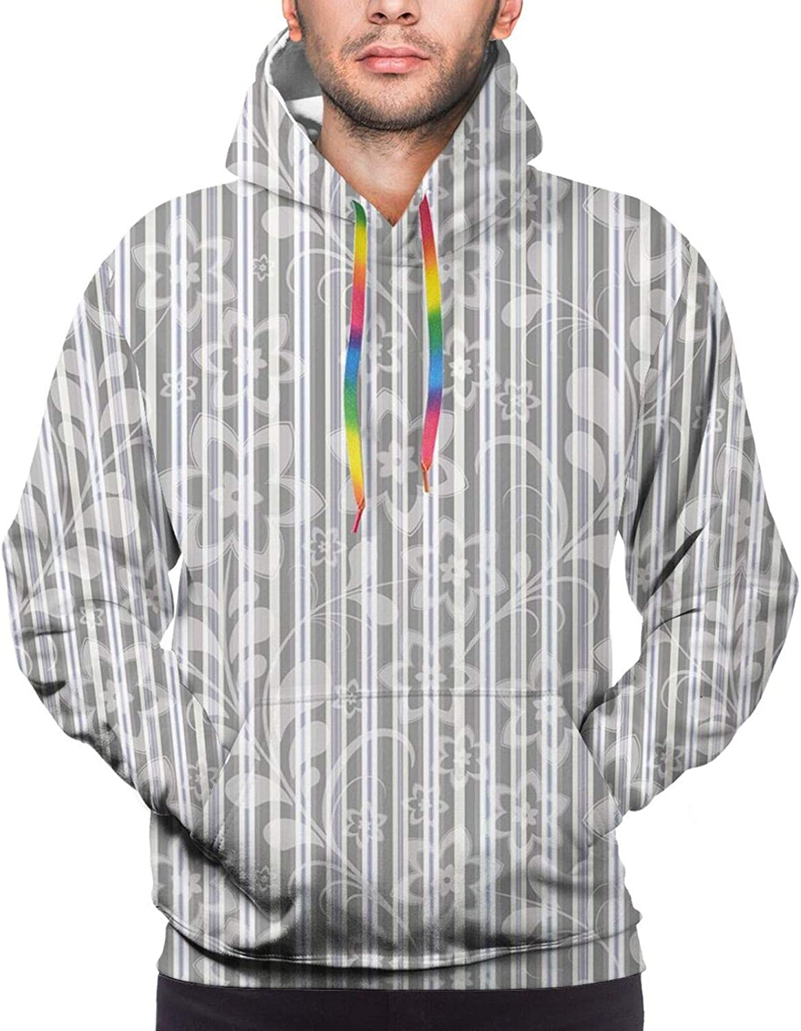 Men's Hoodies Sweatshirts,Floral Eastern Nature with Bird Leaf Paisley Arabesque Inspired Pattern