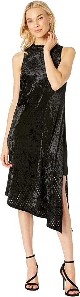 Perforated Velvet Mock Neck Asymmetrical Dress