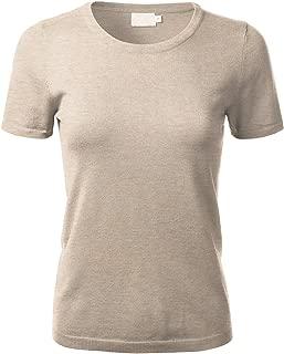 FLORIA Women's Soft Basic Crew Neck Pullover Short Sleeve Knit Sweater (S-XL)