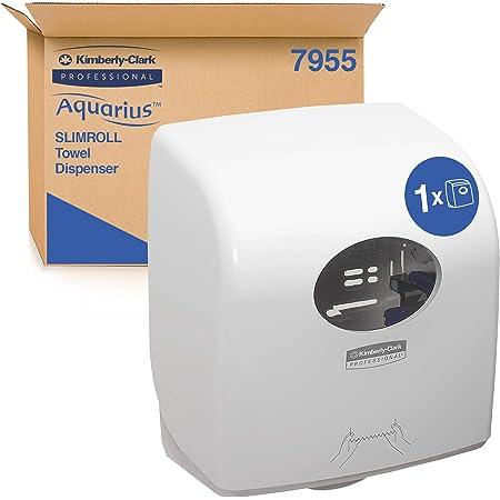 Aquarius 7955 Distributeur d'essuie-mains en rouleaux Slimroll, Installation murale, Feuilles en découpe, Blanc, 7955010