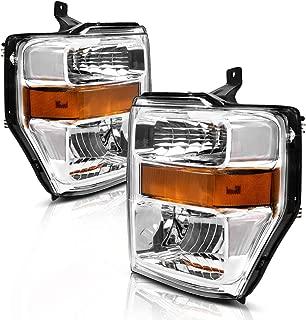 For 08-10 Ford F250 F350 F450 Super duty Headlight Assembly,OE Projector Headlamp,Chrome Housing,(Pair,7C3Z-13008BA,7C3Z-13008AA)