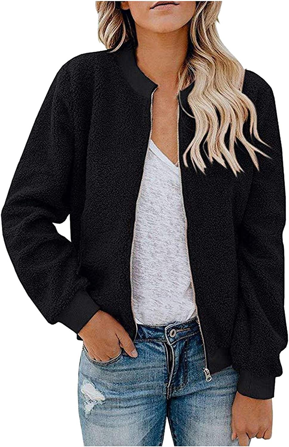 Women Casual British Plush Coat O-Neck Zipper Jacket Warm Solid Color Long Sleeve Top Fashion Blouse With Pockets
