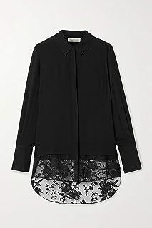 [(アレキサンダー・マックイーン) Alexander McQueen] [レース 長袖 シンプル シルク シフォン ブラック シャツ Lace-trimmed silk chiffon shirt] [並行輸入品]