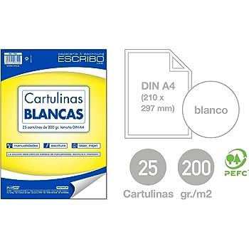 Pack 25 CARTULINAS - Gramaje: 200 gr/m2 - Medida: DIN A4 Tamaño Folio - Color: BLANCO - Material 100% Reciclable: Amazon.es: Hogar
