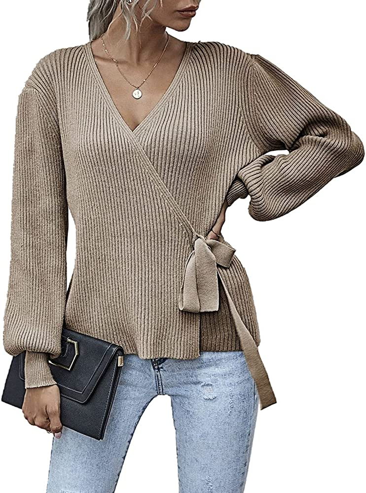 Women's Casual Lantern Sleeve V-Neck Wrap Tie Waist Solid Color Knitted Sweater Tops
