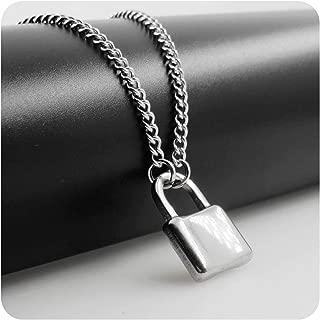 Design Men's Lock Necklace Stainless Steel Padlock Pendant Necklace Fashion