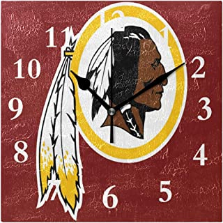 FunnyCustom Square Wall Clock Washington Redskins Clip Art 7.8 Inch Creative Decorative for Living Room/Kitchen/Bedroom