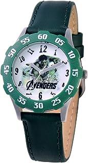 Marvel Kids' W000323 Marvel Avenger Tween Stainless Steel Green Bezel Green Leather Strap Watch