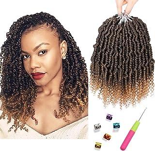 Bomb Twist Crochet Hair 6 Packs 10inch Spring Twist Crochet Braids Pretwisted Passion Twist Hair Pre looped Crochet Hair Synthetic Braiding Hair Extension Fluffy Twist Dreadlocks Hair for Women(T27#)