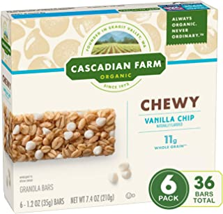 CASCADIAN FARM ORGANIC CHEWY GRANOLA BARS VANILLA CHIP, 44.4 oz (Pack of 6)
