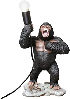 What on Earth Big Gorilla Table Lamp - Sculpted Ape Figurine Holding Light Bulb, 16