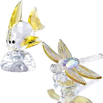 Hummingbird Sculpture Blown Glass Amethyst Crystal Gold
