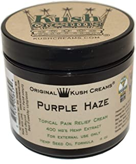 Kush Creams - Purple Haze - Emu Oil & Hemp Oil Infused w/ 30+ Herbal Ingredients - Topical Pain Relief Cream w/Aromatherapy - Award Winning - Doctor Recommended - Lab Tested - 4 oz Jar