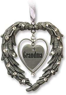 BANBERRY DESIGNS Grandma Christmas Ornament - Angel Wings in The Shape of a Heart - Clear Jewels and Brushed Pewter - in Loving Memory of a Grandma