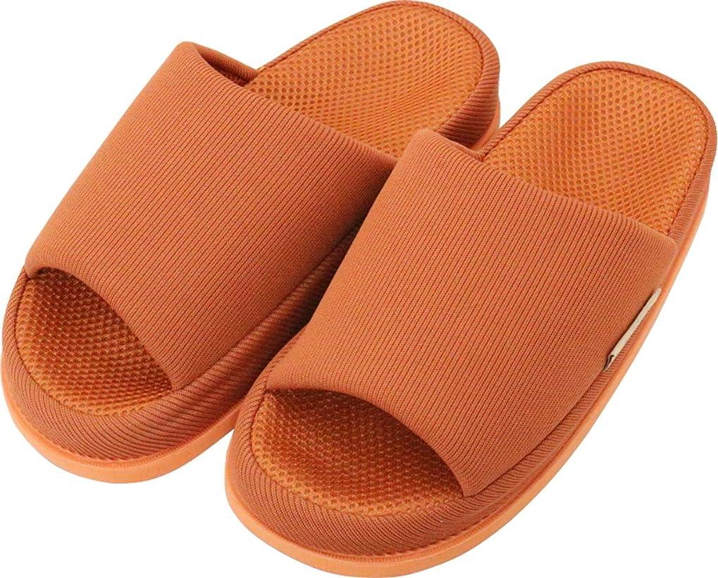 ご近所インストールルーフ足で癒す リフレクソロジースリッパ リフレ 中心 ダークオレンジ L