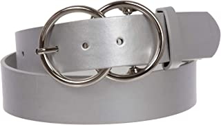 """1 1/2"""" Snap On Round Double Circle Knot Buckle With Leather Belt"""