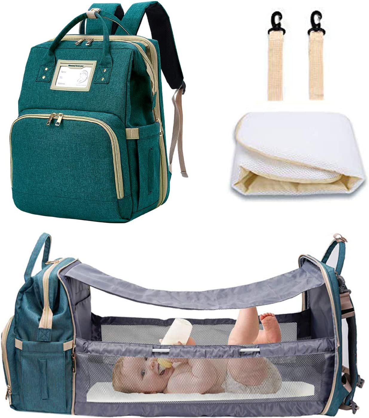 [Deluxe Version]Diaper Bag Baby bed, Travel Bassinet Backpack Portable Infant Crib With Sunshade and USB Charging Port for Mom, Diaper Bag Backpack with Fodable Crib. (Green)