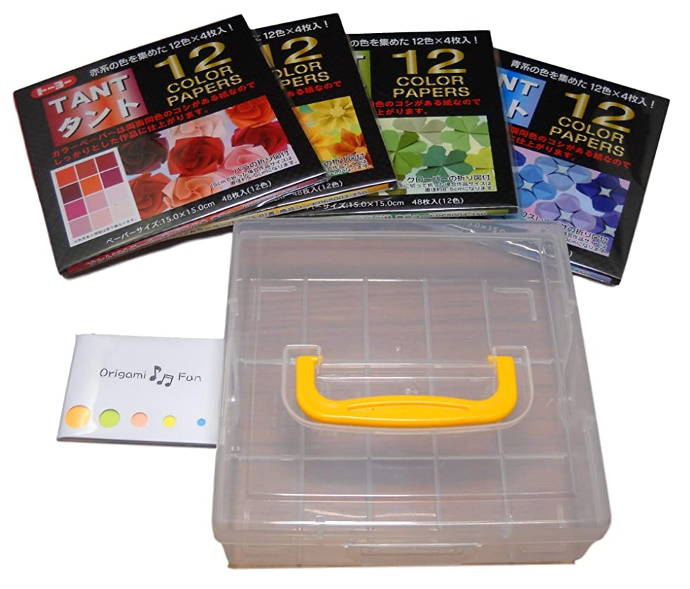 4 Packs of Toyo Tant Origami 5.9 x 5.9 inches Red Blue Green Yellow 12 Colors 4 Each 48 Sheets (Total 192 Sheets) Bundle with Clear Origami Case and Original Sticky Notes