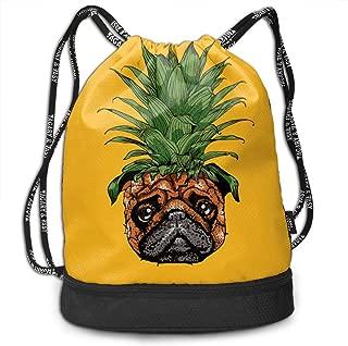 Men & Women Premium Polyester Drawstring Backpack Pineapple Pug Gymsack Theft Proof Lightweight For Travel Soccer Baseball Bag Large For Camping, Yoga Runner