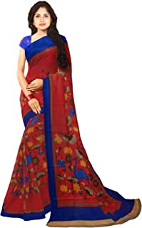 KLM Fashion Mall Women's Fancy Cotton Silk Saree (RED & Blue)