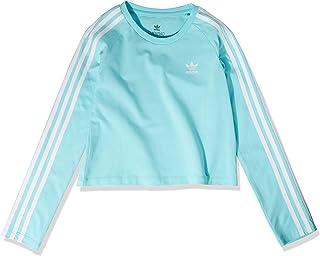 adidas Originals Womens 3-Stripes Crop Long Sleeve T Shirt, Clear Aqua/White, Large US
