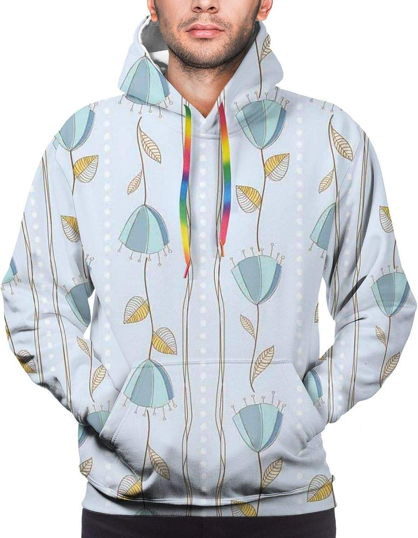 Men's Hoodies Sweatshirts,Corsage of Flowers with Sketch Style Arrangement Vertical Lines Dots