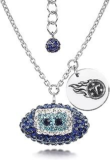 DiamondJewelryNY Silver Pendant, NFL Tennessee Titans Football Necklaces