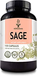 Sage 100 Capsules 1000 mg | Filled with Organic Sage Leaf | Gut Health & Digestive Function | Brain Function | Non-GMO