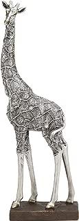 Ebros Large Silver Filigree Design Peering Giraffe Statue 14