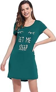 Womens Bamboo Sleep/Night/Pajama/Pj Shirt/Gown/Dress - Short Sleeve/Letter Print