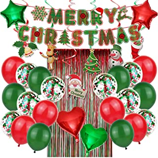 Beauenty 33PCS Christmas Party Balloons Decorations with Foil Curtains Banner Banners Hanging Swirls for Party Holiday Hom...