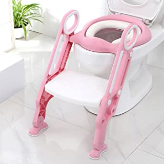 Potty Training Toilet Seat with Step Stool Ladder for Boy and Girl Baby Toddler Kid Children Toilet Training Seat Chair with Padded Seat Non-Slip Wide Step (Pink White Upgrade Cushion)