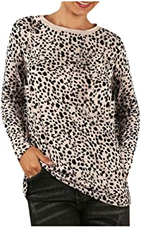 Benficial Women Fashion Casual Tops Womens Leopard Print Shirt Splice Long Sleeve Blouse Loose Tops
