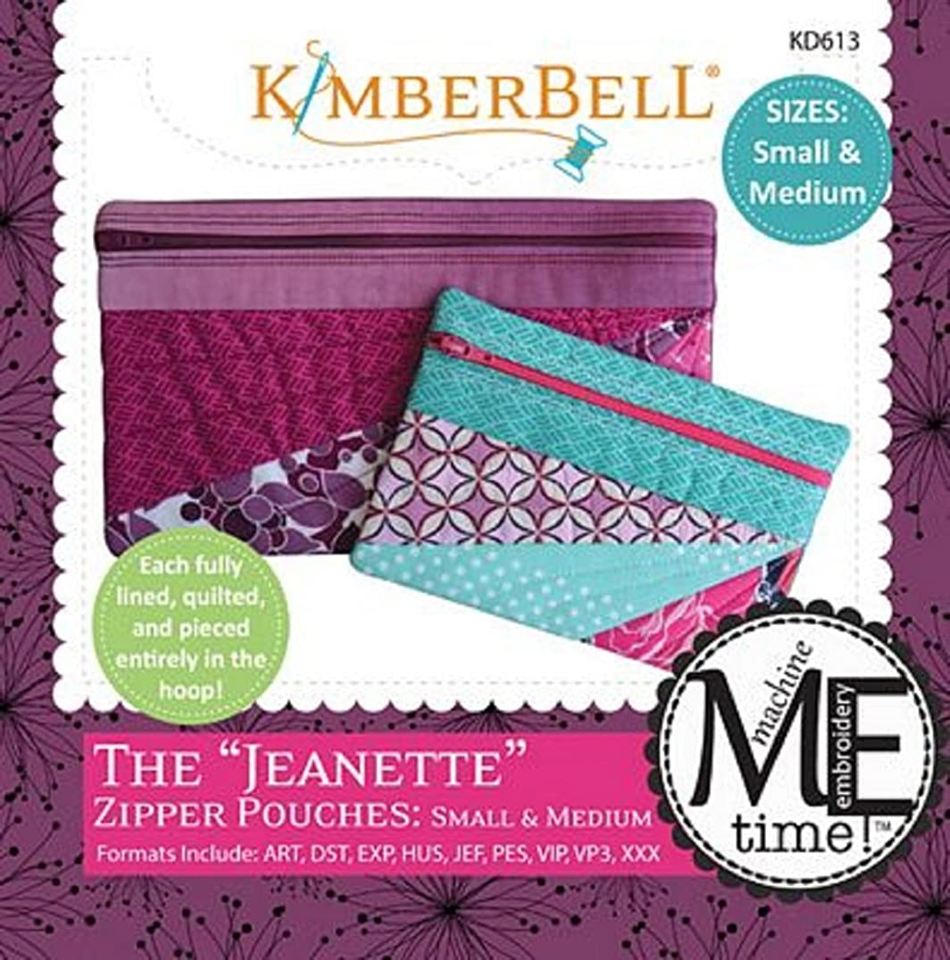 Kimberbell Designs The Jeanette Zipper Pouches Small and Medium with Embroidery CD KD613