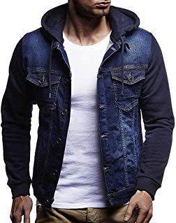 Denim Jacket Elogoog Mens' Autumn Winter Hooded Vintage Distressed Denim Jacket Tops Coat Outwear
