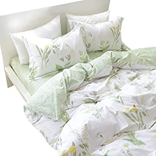 FADFAY Duvet Cover Set King Shabby Green Daisy and Lavender Flowers 100% Cotton with Hidden Zipper Closure 3-Piece:1duvet Cover & 2pillowcases King/California King Size